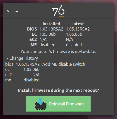 System76 Firmware Update Tool